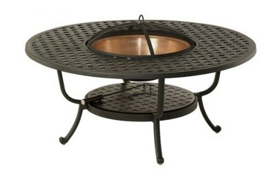 New Port Beach Alum Woven Fire Table